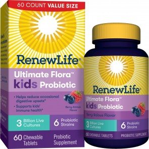 Renew Life Ultimate Flora Kids Probiotic 3 Billion Berry-licious 60 Chewable Tablets