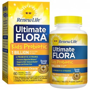 Renew Life Ultimate Flora Kids Probiotic 1 Billion Sun-Kissed Orange 60 Chewable Tablets