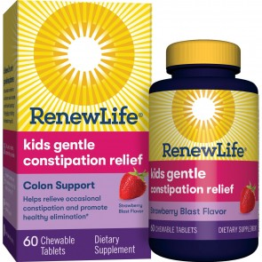 Renew Life Kids Gentle Constipation Relief Colon Support Strawberry Blast 60 Chewable Tablets
