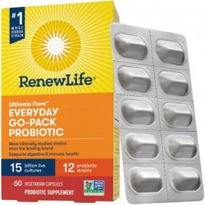 Renew Life Everyday Ultimate Flora Probiotic 15 Billion Go Pack 60 Vegetable Capsules