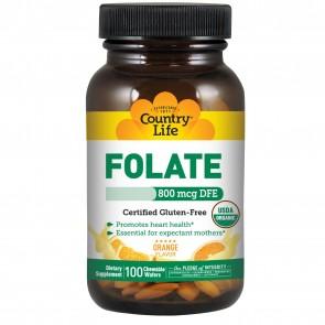 Country Life Folate USDA Organic 800Mcg Wafer 100 Tablets