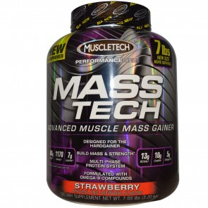Mass Tech Strawberry Advanced Muscle Mass Gainer Strawberry 7 lbs by Muscletech