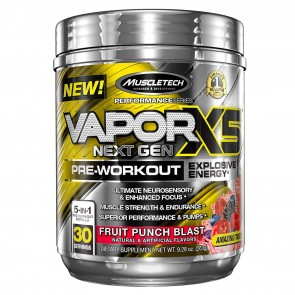 MuscleTech VaporX5 Pre-Workout Fruit Punch Blast 9.28 oz 30 Servings