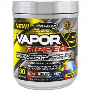MuscleTech VaporX5 Ripped Pre-Workout Icy Rocket Freeze 7.27 oz 30 Servings