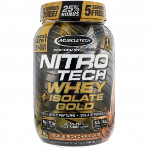 MuscleTech NitroTech Whey + Isolate Gold Double Rich Chocolate 2 lbs