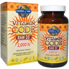 Garden of Life Vitamin Code Raw D3, 2,000 IU 120 Veggie Caps