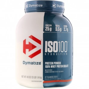 Dymatize Nutrition ISO-100 100% Whey Protein Isolate Strawberry 3 lbs