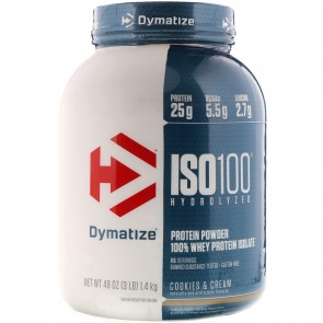 Dymatize Nutrition ISO-100 100% Whey Protein Isolate Cookies & Cream 3 lbs