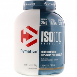 Dymatize Nutrition ISO-100 100% Whey Protein Isolate Cookies & Cream 5 lb