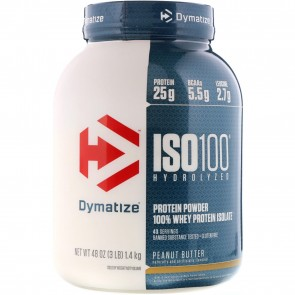 Dymatize Nutrition ISO-100 100% Whey Protein Isolate Peanut Butter 3 lbs