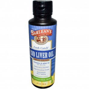 Barlean's Fresh Catch Cod Liver Oil Lemonade Flavor 8 fl oz