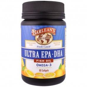 Barlean's Ultra EPA DHA Double Potency 1000 mg Orange Flavor 60 softgels