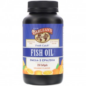 Barlean's Organic Oils Fresh Catch Fish Oil 1000 mg Orange Softgels 250 count