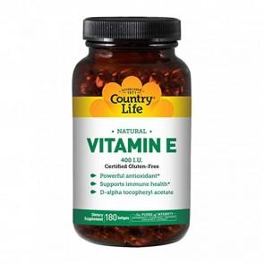 Country Life Gluten Free Natural Vitamin E 400 IU 180 Softgels