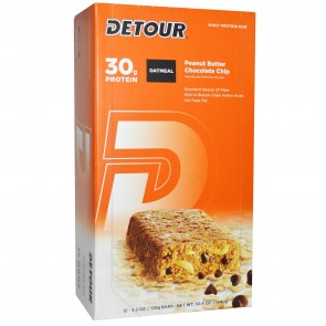Detour Oatmeal Whole Grain Whey Protein Oat Bar Peanut Butter Chocolate Chip 12 Pack