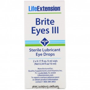 Life Extension Brite Eyes III Sterile Lubricant Eye Drops 2 Vials