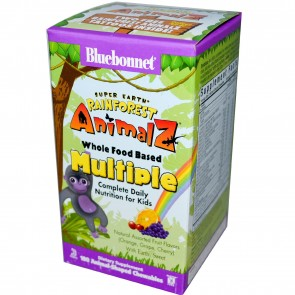 Bluebonnet Super Earth Rainforest Animalz Whole Food Based Multiple 180 Aniamlz-Shaped Chewables