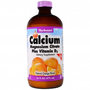 Bluebonnet Liquid Calcium Magnesium Citrate Plus Vitamin D3 Orange Flavor 16 fl oz