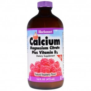 Bluebonnet Liquid Calcium Magnesium Citrate Plus Vitamin D3 Raspberry Flavor 16 fl oz