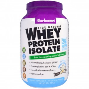 Bluebonnet 100% Natural Whey Protein Isolate Powder French Vanilla 2 lbs