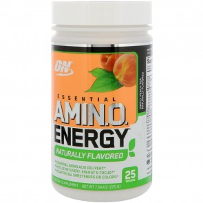 Optimum Nutrition Amin.o. Energy Naturally Flavored Peach Tea 25 Servings 7.94 oz