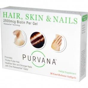 Wellgenix Purvana Hair, Skin & Nails 2500 mcg 30 Softgels