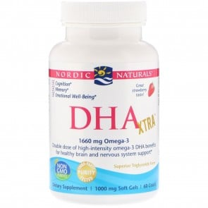 Nordic Naturals DHA Xtra Strawberry Flavored 60 Softgels