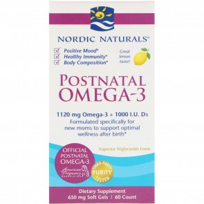Nordic Naturals Postnatal Omega 3 Lemon Flavor 650 mg 60 Softgels