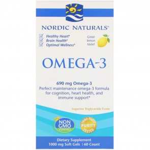 Nordic Naturals Omega-3 Lemon Flavored 60 Softgels
