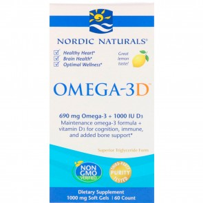 Nordic Naturals Omega-3D Lemon Flavored 60 Softgels