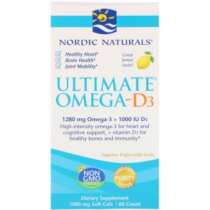 Nordic Naturals Ultimate Omega-D3 Lemon Flavored 60 Softgels