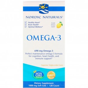 Nordic Naturals Omega-3 Lemon Flavored 120 Softgels