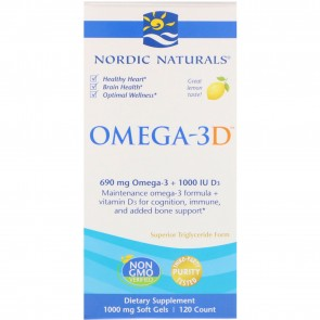 Nordic Naturals Omega-3D Lemon Flavored 120 Softgels