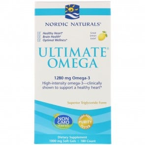 Nordic Naturals Ultimate Omega Lemon Flavored 180 Softgels