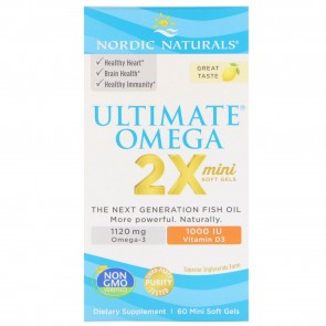 Nordic Naturals Ultimate Omega 2X with D3 Mini Softgels Lemon 60 Softgels