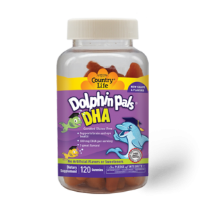 Country Life- Dolphin Pals DHA Gummies For Kids 100 mg, DHA, 120ct