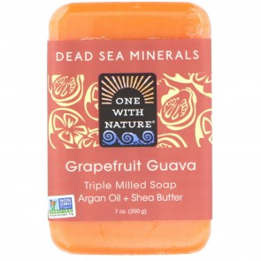 One With Nature Dead Sea Minerals Triple Milled Bar Soap Grapefruit Guava 7 oz.