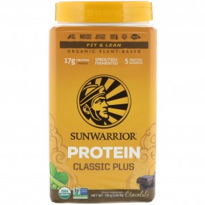 Sunwarrior Classic Plus Organic Plant Based Protein Chocolate 1.65 lbs