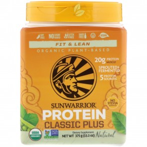 Sunwarrior Classic Plus Organic Plant-Based Protein Natural 13.2 oz