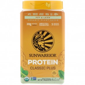 Sunwarrior Classic Plus Organic Plant Based Protein Natural 1.65 lbs