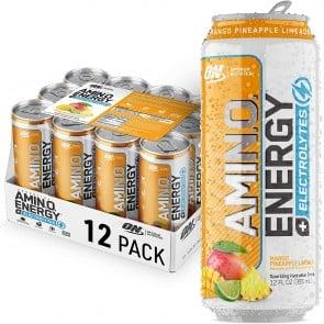 Optimum Nutrition Amino Energy Sparkling + Electrolytes Mango Pineapple Limeade (12 RTD Drinks)