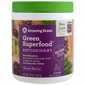 Amazing Grass Green SuperFood Antixodiant Sweet Berry 7.4 oz (210 Grams)