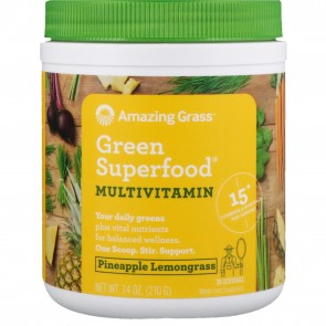 Amazing Grass Green Superfood Multivitamin Pineapple Lemongrass 7.4 oz (210 Grams)