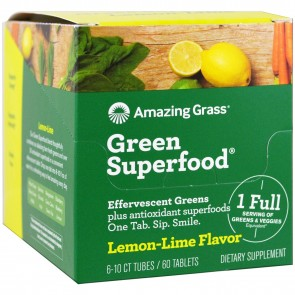 Amazing Grass Green Superfood Effervescent Greens Lemon-Lime Flavor 60 Tablets (6-10ct Tubes)