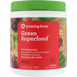 Amazing Grass Green SuperFood Drink Powder Berry Flavor 30 Servings 8.5 oz