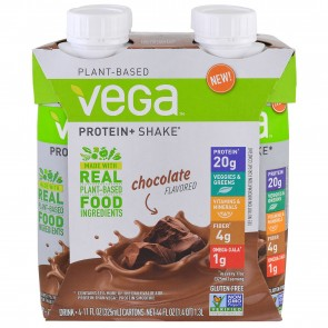Vega Protein + Shake Chocolate Flavored 4 Cartons 11 oz (325 ml) Each