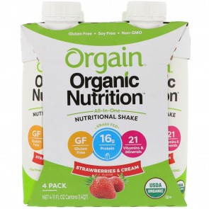 Orgain Organic Ready To Drink Meal Replacement Strawberries and Cream - 4 Pack