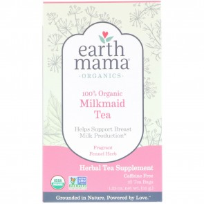Earth Mama Angel Baby Organic Milkmaid Tea Fragrant Fennel Herb Caffeine Free 16 Tea Bags 1.23 oz (35 g)