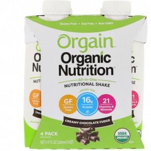 Orgain Organic Nutritional Shake Creamy Chocolate Fudge 11 oz - 4 Pack