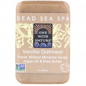 One With Nature - Dead Sea Mineral Bar Soap Pure Glycerin Vanilla Oatmeal Soap - 7 oz.